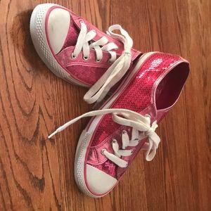 Women's hot pink sequin tennis shoe